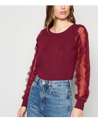 New Look Burgundy Lace Sheer Sleeve Jumper - Red