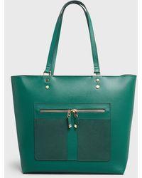 New Look Dark Green Leather-look Zip Front Tote Bag