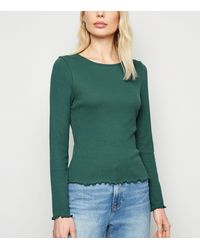 New Look Teal Ribbed Long Sleeve Top - Green