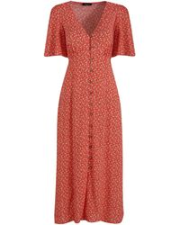 New Look Tall Red Floral Button Up Midi Tea Dress