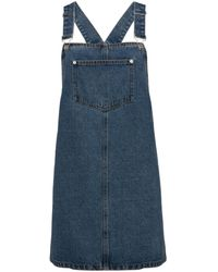 New Look Blue Denim Pocket Front Pinafore Dress