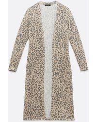 New Look - Brown Leopard Print Fine Knit Midi Cardigan - Lyst