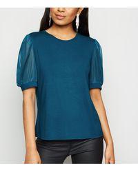 New Look Petite Teal Mesh Puff Sleeve T-shirt - Blue