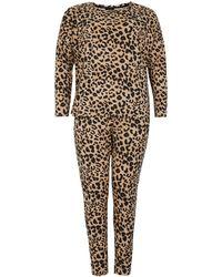 New Look Curves Brown Leopard Leggings Pyjama Set