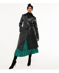 New Look Black Leather-look Belted Trench Coat