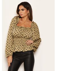 AX Paris Olive Polka Dot Bardot Top - Green
