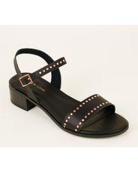 790dd38ef New Look Black Stud Trim Block Heel Gladiator Sandals in Black - Lyst