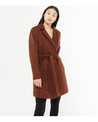 New Look Petite Tan Belted Coat - Brown