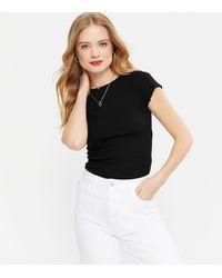 New Look Black Frill Trim Cap Sleeve T-shirt