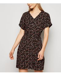 New Look Black Ditsy Floral Print Belted Tunic Dress