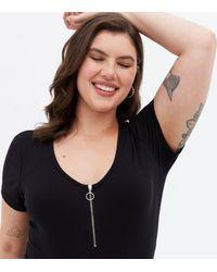 New Look Curves Ribbed Zip Bodysuit - Black