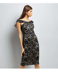 AX Paris Black Lace Cross Front Midi Dress
