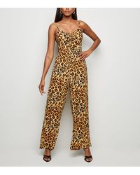 New Look Brown Leopard Print Bustier Jumpsuit