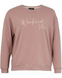 New Look - Curves Mid Pink Weekend Vibes Pyjama Sweatshirt - Lyst