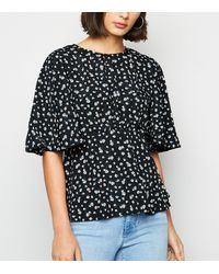 AX Paris Black Ditsy Floral Peplum Top