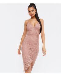 New Look Mid Pink Lace Asymmetric Midi Wrap Dress