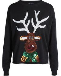 New Look Black Sequin Reindeer Christmas Jumper
