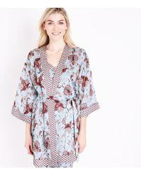 New Look Frankie Blue Paisley Print Pyjama Kimono