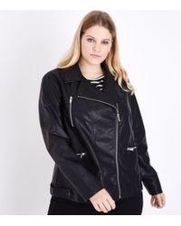 New Look - Curves Black Oversized Leather-look Biker Jacket - Lyst
