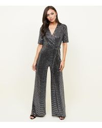 New Look - Silver Mirrored Sequin Wrap Jumpsuit - Lyst