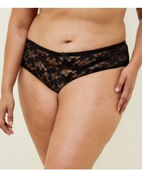 bdd5be7469 New Look - Curves Black Lace Brazilian Briefs - Lyst