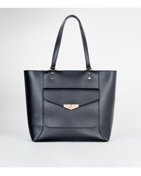 New Look Black Leather-look Pocket Front Tote Bag