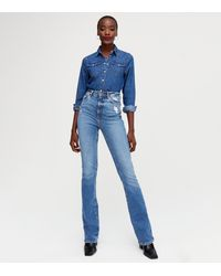 New Look Tall Blue Distressed High Waist Brooke Flared Jeans