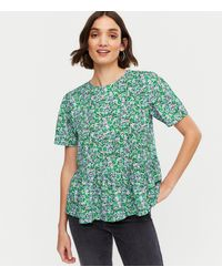 New Look - Blue Ditsy Floral Peplum Top - Lyst