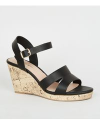 New Look Wide Fit Black Leather-look Cork Wedges