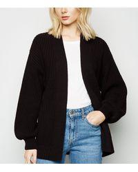 New Look Black Puff Sleeve Long Knit Cardigan