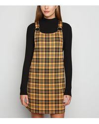 New Look Mustard Check Ring Strap Pinafore Dress - Multicolour