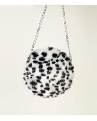 New Look - White Snow Leopard Print Faux Fur Crossbody Bag - Lyst a7f55dcb8a