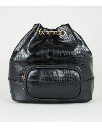New Look Black Faux Croc Drawstring Duffle Bag