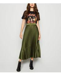 New Look Green Pleated Satin Midi Skirt