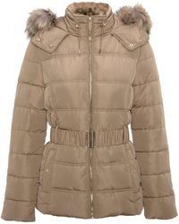 New Look Camel Faux Fur Hood Fitted Puffer Jacket - Natural