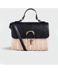 New Look Black Straw Cross Body Bag