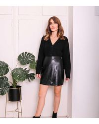 Urban Bliss Black Leather-look Wrap Mini Skirt