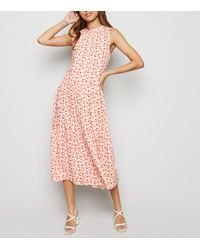 New Look Off White Floral Smock Midi Dress - Pink