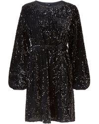 Mela Curves Black Sequin Puff Sleeve Belted Dress