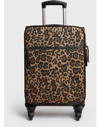 New Look Stone Leopard Print Suitcase With Wheels - Multicolour