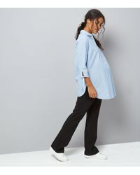 New Look - Maternity Black Over Bump Wide Leg Trousers - Lyst