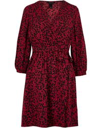 New Look Red Floral Wrap Front Tea Dress