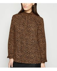 New Look Brown Leopard Print Shirred High Neck Shirt