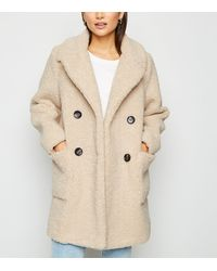 New Look Petite Cream Teddy Coat - Natural