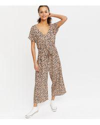 New Look Brown Leopard Print Drawstring Crop Jumpsuit
