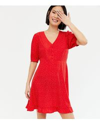 New Look Red Spot Button Front Frill Mini Dress