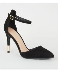 New Look - Black Suedette Ankle Strap Stiletto Courts - Lyst