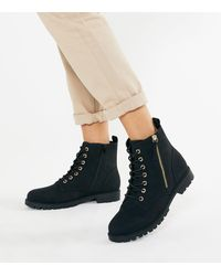 New Look Wide Fit Black Suedette Lace Up Ankle Boots