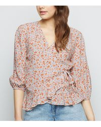 New Look White Ditsy Floral Puff Sleeve Wrap Top
