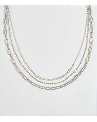 New Look Silver Triple Chain Diamanté Layered Necklace - Metallic